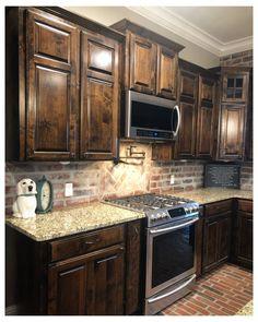 Dark Wood Kitchen Cabinets, Alder Cabinets, Backsplash With Dark Cabinets, Dark Wood Kitchens, Walnut Cabinets, Staining Cabinets, Backsplash Ideas, Kitchen Backsplash, Home Kitchens