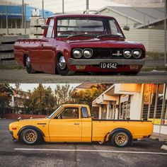 Stanced Datsun truck Thursday. 620 single cab and king cab. Email us what's in your garage at thedatsungarage@gmail.com with your Instagram username and we will post your Datsun. #Datsun #datsuntruck #datsungarage #datsun620 #kingcab #singlecab #stance #zgfenderflares #steelies #bluebird #slammed