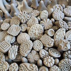 Handgemachte Clay Briefmarken für Keramik, Polymer, PMC, Fondant und mehr... Clay-Tools, Keramik-Textur-Werkzeug, Stempel für DIY und alle Ihr Handwerk