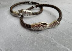 Beautiful Homemade brown braided leather Mother daughter Father son  bracelets by JHFWBeadsAndFindings on #Etsy #homemade #leather #bracelets