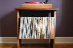 Solid Walnut Record Player Table and LP Holder by SuperCoolThings