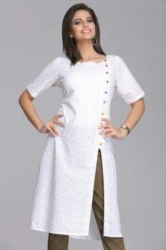 Serene Stylish Self-Printed White Cotton Kurta With Multicolored ButtonsGupta… Salwar Designs, Salwar Suit Neck Designs, Designer Salwar Kameez, Salwar Pattern, Kurta Patterns, Pakistani Dresses, Indian Dresses, Indian Outfits, Bollywood Suits