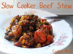 slow cooker beef stew with potatoes, carrots, peas & corn