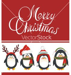 Merry christmas card with penguins vector 1744498 - by galina on VectorStock®