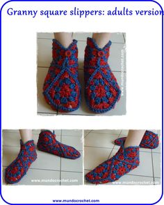 Granny Square Slippers By Soledad - Free Crochet Pattern - (mundocrochet)