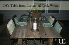DIY Outdoor Table made using recycled decking with step-by-step tutorial