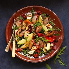A delicious salad of sausage and halloumi, perfect for lunch in the garden,