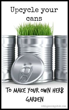 Use old cans to make an indoor herb garden! SO fast and easy--you probably already have all the items to make it in your house!