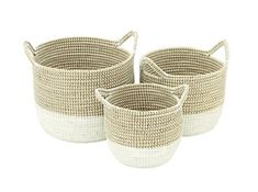 The Gray Barn Jartop White/ Tan Sea Grass Basket (Set of (Basket), Black Sisal, Big Basket, Round Basket, Mode Crochet, Large Baskets, Decorative Baskets, Decorative Accents, Decorative Items, Basket Decoration