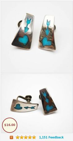 Sterling Earrings screw back Earrings with Turquoise Blue enamel inlay of an arrow and heart Tribal https://www.etsy.com/serendipitytreasure/listing/286637481/sterling-earrings-screw-back-earrings?ref=listing_published_alert
