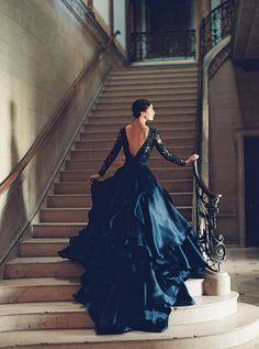 Sareh Nouri Spring 2016 Mona Lisa wedding gown - What a dramatic black wedding gown!