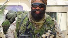 Lt.Col Sajjan Singh is now the Defense Minister of Canada and erstwhile commander of Canadian forces in Afghanistan.Shown here with new field equipment for Sikh soldiers.