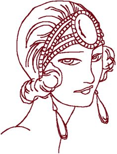 Redwork Flapper #9 Embroidery Design