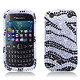 Bundle Accessory for (Verizon/ Boost Mobile) Blackberry Curve 9310 9320 - Zebra Designer Diamond Bling Hard Case Protective Cover+ Lf Stylus Pen + Lf Screen Wiper