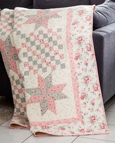 This pink and blue star and patchwork quilt pattern, Liberty's Stars, is subtle yet playful. Find this quilt by Kimberly Jolly in the July/August 2013 Love of Quilting magazine.