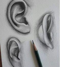 Ear drawing art in 2019 draw, pencil art, art sketches. Art Drawings Sketches Simple, Pencil Art Drawings, Realistic Drawings, Cool Drawings, Pencil Sketching, Hand Drawings, Nose Drawing, Painting & Drawing, Art Tutorials
