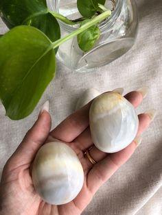 White Onyx Palmstone- Medium Breads, Crystals, Medium, Bread Rolls, Bread, Crystal, Braided Pigtails, Buns, Crystals Minerals