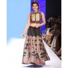 Black Hand Embroidered Lengha with Short Jacket