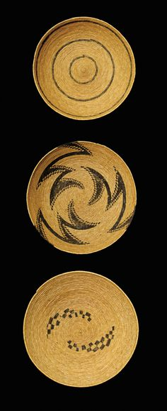 Africa | Collection of baskets from the Tutsi people of Rwanda or Burundi || Natural fibre and pigment