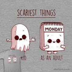 Scariest Things | Shirtoid #adult #ghost #ghosts #horror #monday #nachodiazarjona #naolito