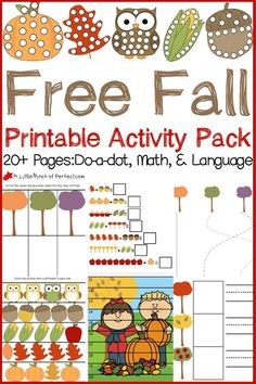Free Fall Printable Activity Pack: This pack includes Do-a-Dot pages math and language activities and is loaded with colorful leaves owls acorns pumpkins and owls. The pack includes 20 pages for your kids to enjoy. Fall Preschool Activities, Free Preschool, Toddler Activities, Preschool Fall Theme, Preschool Apples, Number Activities, Do A Dot, Autumn Theme, Autumn Fall