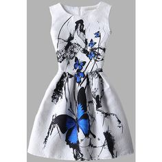 White Butterfly Print Fit and Flare Jacquard Dress (1.260 RUB) ❤ liked on Polyvore featuring dresses, vestidos, white, short sleeve dress, summer party dresses, white party dresses, long-sleeve fit and flare dresses and white sleeveless dress