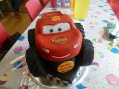 Lightning McQueen Monster Truck - Nephew requested Lightning Mcqueen Birthday cake with monster truck wheels.