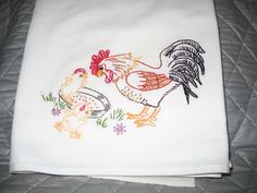 Design 837 Rooster and chicks -hand embroidered flour sack 30 X 30 inch towel.