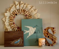 another diy with wine corks...and I love the bird canvas