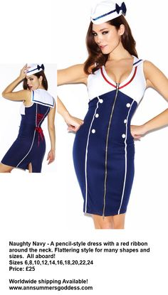 Re-pin! Naughty Navy Fancy Dress for a night out with the girls or a night in with your loved one! Sexy! Sizes 6-24 Price £25.00  #fancydress #costume #hen party  Visit http://www.annsummersgoddess.com
