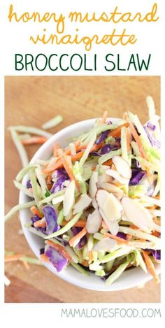 Honey Mustard Vinaigrette Broccoli Slaw Recipe is the perfect recipe for your ne. Brocoli Slaw Recipes, Brocolli Slaw, Broccoli Slaw Dressing, Broccoli Slaw Salad, Coleslaw Dressing, Mustard Slaw Recipe, Honey Recipes, Healthy Recipes, Healthy Dinners