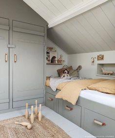 Kids bedroom in attic, clever interior to maximise space Attic Bedrooms, Kids Bedroom, Brighten Room, Loft Room, Attic Renovation, Attic Spaces, Room Inspiration, Interior Design Philippines, Babies Rooms