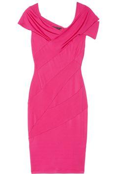Donna Karan|Draped stretch-sateen jersey dress|NET-A-PORTER.COM