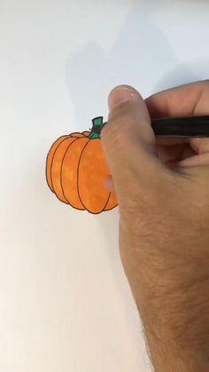 Halloween Crafts For Kids, Halloween Activities, Diy Arts And Crafts, Fall Crafts, Pumpkin Drawing, Fruits Drawing, Doodle Art Designs, Fruit Illustration, Diy Pumpkin