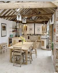 Check Out 33 Beautiful Barn Kitchen Design Ideas. The main decor piece in a barn kitchen is wooden beams which make the space cozy, rustic and sweet. Barn Kitchen, Rustic Kitchen, Country Kitchen, New Kitchen, Kitchen Decor, Kitchen Ideas, Farmhouse Kitchens, Kitchen Dining, Kitchen Furniture