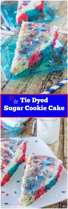 Tie Dyed Sugar Cookie Cake | deliciouslysprinkled.com | #recipe #cookie #easy #holiday