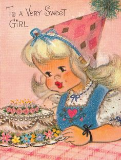 Vintage Glittered Hat and Cake Girl Blowing Candles Birthday Greeting Card Used