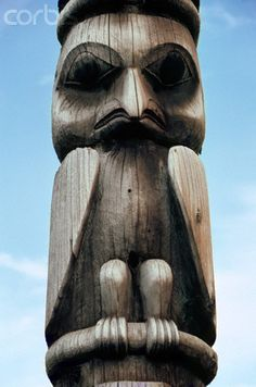 Carved Owl on Native Canadian Totem Pole, British Columbia