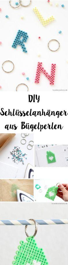 DIY Bead Key Chain | DIY Schlüsselanhänger aus Bügelperlen Jewelry Trends, Diy Jewelry, Jewelry Making, Diy For Kids, Crafts For Kids, Diy Keychain, Keychains, Diy Xmas Gifts, Diy Mode