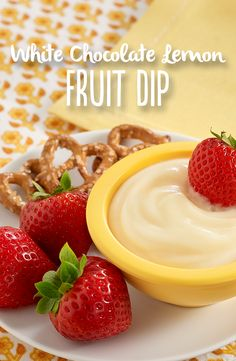 A 3-ingredient dessert dip recipe with white chocolate and lemon juice stirred into vanilla pudding to use as a dip with fresh fruit and/or pretzels.