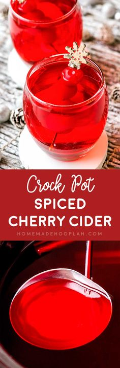 Crock Pot Spiced Cherry Cider! With only three ingredients this cherry cider is easy to make and festively sweet, making it and perfect for any family-friendly party.   HomemadeHooplah.com