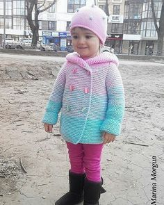 Вязаный кардиган для девочки, градиент. https://www.livemaster.ru/item/20544777-odezhda-vyazanyj-kardigan-dlya-devochki