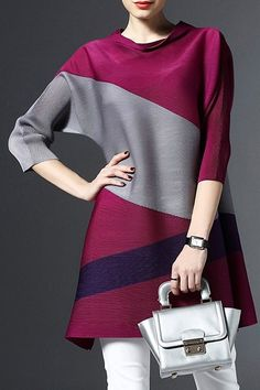 Casual Style 3/4 Sleeve Cowl Neck Color Block Dress