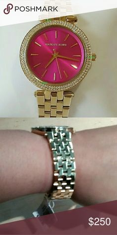 Authentic Michael Kors | Mini Darci Fuchsia Watch - Crystal-set bezel - 33 mm gold-tone   - Fold-over clasp and double push-button safety  - Water resistant to 50 m (165 ft)  100% Authentic BRAND NEW Michael Kors Accessories Watches