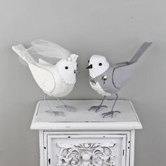 Fabric Birds Wedding Cake Toppers Made to Order by TheCottonPotter