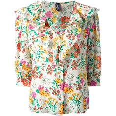 Emanuel Ungaro Vintage floral print shirt (€165) ❤ liked on Polyvore featuring tops, white, flower print shirt, floral shirt, 3/4 sleeve tops, white floral top and floral print tops