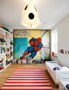 Kiddos will love this Spiderman room.