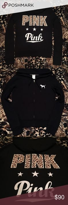 👸🏻UFT or Sale Make Offer🔥 Small Rare Cheetah w/ Stars Full Zip Hoodie. Practically New. This is another rare black beauty that just doesn't fit right 😭 Worn for ten minutes until I realized it was too loose to work, very picky with the fit of my clothes. I might hold out to look for anyone that has a XS they'd trade? 👀 But always open to other offers (💵, MK-5380 ⏱, black/white VS Pink, miss me, rocks *straight trade bc this one is a rare gem) I wont accept low offers though, sry but…