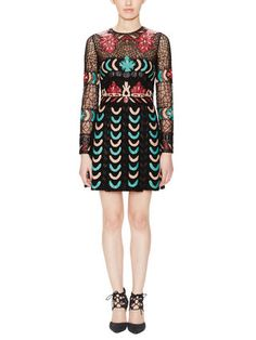 Valentino Tulle & Leather Bead Embellished Dress - Love the textile/fabric print