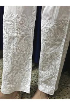 Discover thousands of images about India Chikan White Hand Embroidered Chikankari Cotton Straight Pant :Elasticated Waistband Women palazzo pant trouser salwar Cigratte Pants, Plazzo Pants, Salwar Pants, Trousers, Kalamkari Dresses, Chikankari Suits, Cotton Palazzo Pants, White Palazzo Pants, Ladies Pants
